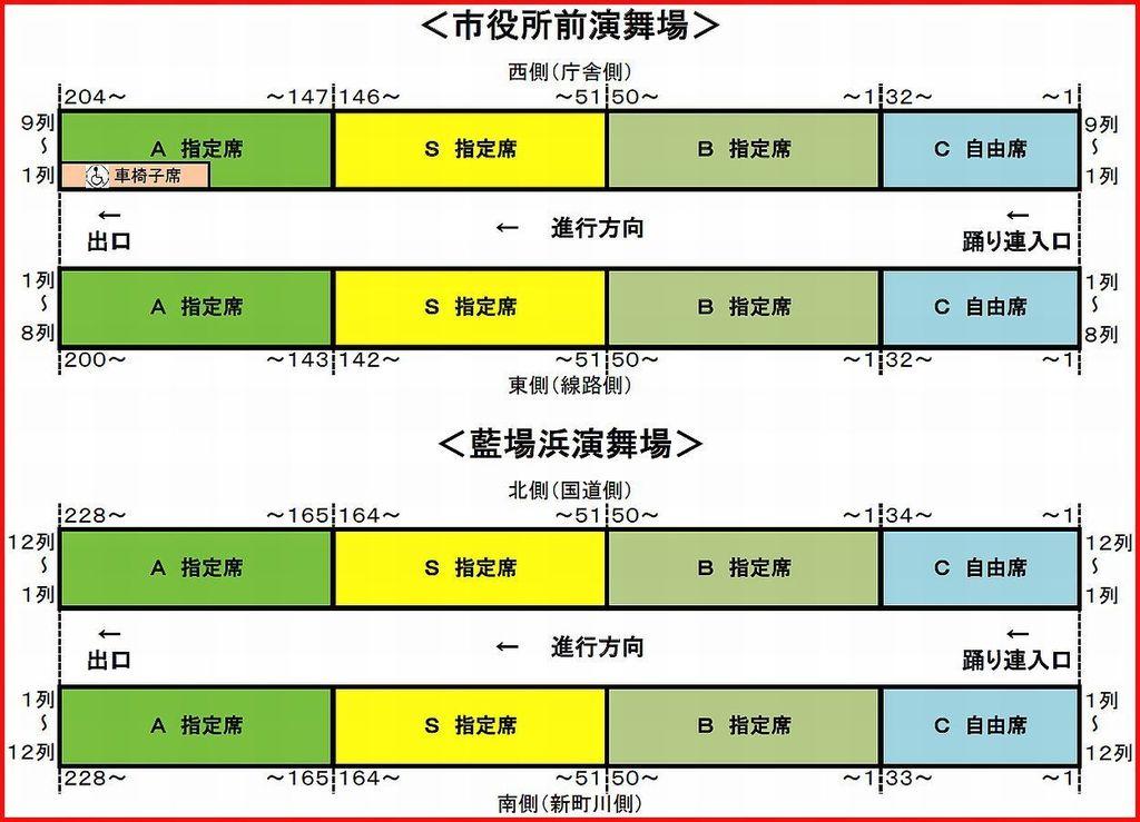 徳島阿波おどり2015 市役所前演舞場 藍場浜演舞場 桟敷席 座席表