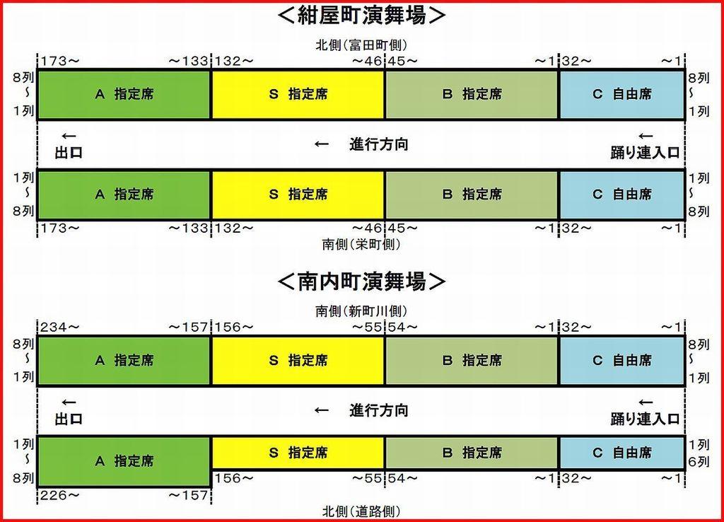 徳島阿波おどり2015 紺屋町演舞場 南内町演舞場 桟敷席 座席表